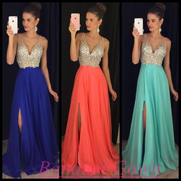 Wholesale Empire Waist Prom - 2017 Newest Summer Beach Chiffon Split Evening Dresses A Line Shiny Sequins Top Empire Waist Backless Plunging V Neck Prom Party Dress