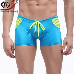 Wholesale Men Swimwear Big - Men Penis Pouch Swimwear High Quality 2016 Patchwork Mesh Knitted Quick Dry Big Sizes Beach Boxer Shorts