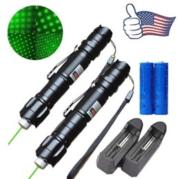 Wholesale Battery Powered Laser - 2x High Power Astronamy 10Mile Green Laser Pen Pointer 5mw 532nm Cat Toy Military Powerful Laser Pen Adjust Focus+18650 Battery+ Charger