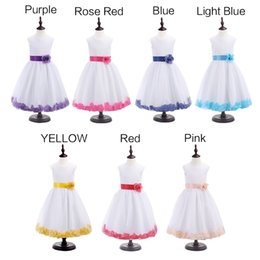 Wholesale Wholesale Pink Evening Gowns - 2016 Top Quality Girl Sleeveless Flower Wedding Formal Princess Bridesmaid Party Dress 7 colors For Choice Girls' Dress Up Evening Party