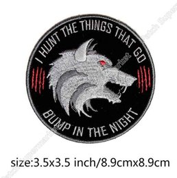 Wholesale Swat Uniforms - I Hunt the Things That Go Bump Slogan BIKER VEST PATCH Iron On Embroidered Motorcycle Chest Badge UNIFORM MILSPEC DARK OPS SWAT