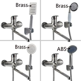 Wholesale Bath Taps Wall Mounted - Contemporary Rainfall Brass bathroom Bath Tub Faucet Mixer Tap with hand shower Brushed Nickel Finish