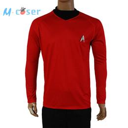 Wholesale Star Trek Uniforms - Wholesale-Clearance Star Trek Into Darkness Scotty Shirt Uniform Cosplay Costume Red Version For Adult Men