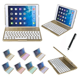 Wholesale Case Keyboard Ipad Alloy - bluetooth keyboard Colorful Backlighting For ipad air case Aluminium alloy teclado para Smart Cover for ipad air with Stand Gold New 010242