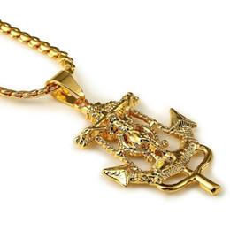 """Wholesale Man 24k Gold Chains - High quality 24K Gold Plated Jesus Cross Medal Necklace Hip hop Rap Golden Crucifixio Pendant & 24"""" Cuban Chain Necklace Men"""