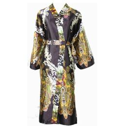 Wholesale Men Chinese Robes - Wholesale-Black Vintage Chinese Men Silk Kimono Bath Robe Sexy Unisex Long Pijamas Printed Night Gown Sleepwear Flower YF7062