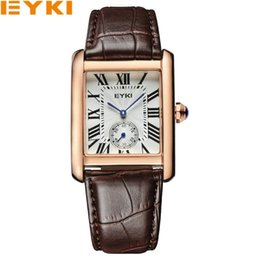 Wholesale Eyki Quartz Watch Lovers - EYKI women men lovers leather quartz watches fashion casual clock rose gold rome marker unique second waterproof wristwatches