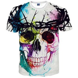 Wholesale Cool Hip Hop Clothes - New Fashion Brand T-shirt Hip Hop 3d Print Skulls Harajuku Animation 3d T shirt Summer Cool Tees Tops Brand Clothing