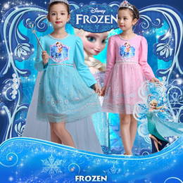 Wholesale Tutu Dresses For Baby Blue - 2016 Frozen baby Girl's Dresses clothing Spring   Autumn children's princess dress For Kids Full long sleeve Wathet Blue Pink TUTU Dress