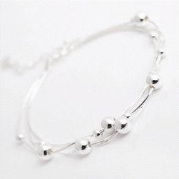 Wholesale Cheap Girls Charm Bracelets - 925 Sterling Silver Multilayer Bead Chain Bracelets For Women Hypoallergenic Girl Sterling-silver-jewelry Cheap bracelet silver chain