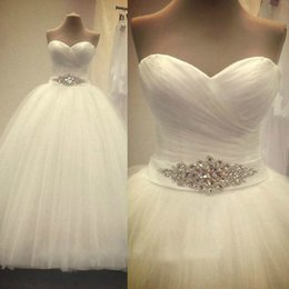 Wholesale One Shoulder Open Back Slit - New Custom Made Real Sample Tulle With Pearls Sweetheart Open Back Ball Gown Big Train Wedding Dresses Bridal Gowns