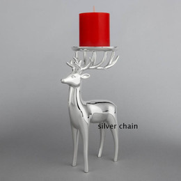Wholesale Silver Tealight - New arrival silver finish deer shape metal candle holder, zinc alloy candelabra, fashion wedding candle stand
