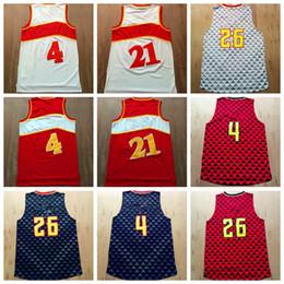 Wholesale Men Wearing Purple Shirts - Cheap Basketball Jersey Sport Wear 2016 Men #4 #21 #26 With Player Name Team Logo Pallacanestro Throwback Shirt Basket ball Uniforms Quality