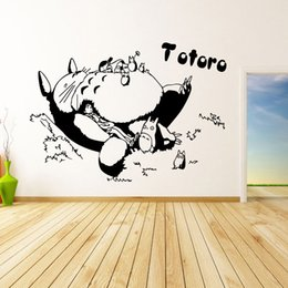 Wholesale 58 Stickers - Sleeping Totoro Wall Decals Japanese Cartoon Totoro Wall Stickers Decal Wall Decor Home Decorations Totoro Decals 58*46cm