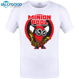 Wholesale Tee Shirt Minions - Minions in Deadpool White T-shirt Men O-neck With 3xl Despicable ME Minion Dead Pool T Shirt Men Brand in Cotton Tees Men Tops