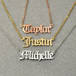 Wholesale Personalized Nameplates - Personalized Nameplate Jewelry Christmas Gift Old English style Name Necklace