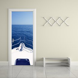 Wholesale Diy Boat For Kid - Home Decor Creative DIY 3D Door Stickers Motorboat Yacht Decal for Kids Room Door Home Decoration Sea Boat Scenery Wall Sticker
