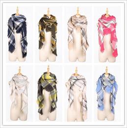 Wholesale ring lattice - Plaid Scarves Grid Lattice Scarf Tartan Tassels Scarf Check Wraps Fashion Neckerchief Winter Shawl Ring Muffler Accessories Blankets B3041