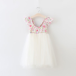 Wholesale Dot Lace Dress Girl Pink - 2016 Baby Girls Lace Floral Dresses Kids Girl Mesh Dots Party Dress Babies Princess tutu Dress Children's Summer Wholesale Clothing