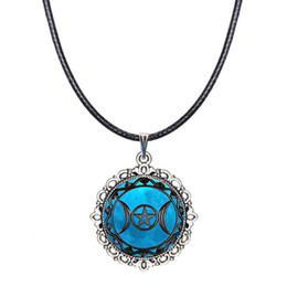 Wholesale Wholesale Goddess Jewelry - Triple Moon Goddess Choker Necklace Wiccan Pagan Collar Fashion Jewelry Glass Dome Pendant Pentagram Pentacle Necklace with Black Wax Cord