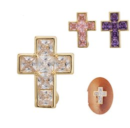 Wholesale Belly Piercing Purple - White Pink Purple 18K Yellow Gold Plated Crystal Cross Belly Ring Button Rings Navel Button Body Piercing Ring Jewelry for Women BR-076