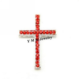 Wholesale Sideways Curved Cross Connector - Wholesale 20pcs lot Silver Plated Curved Sideways Cross Red Crystal Bracelet Connector Fit Bracelets Free Shipping