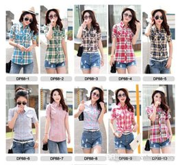 Wholesale Short Sleeve Check - Women Clothing 2016 New Summer Autumn Womens Short Sleeve 100% Cotton Check Shirts Fashion Casual Ladies Elegant Tops Suits 14 colors M-3XL