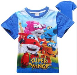 Wholesale Girls Wing Top Shorts - Cartoon kids t-shirt baby boy clothes children clothing camiseta super wings boys t shirt girls tops and tees cotton 2017