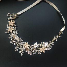 Wholesale High End Crowns Tiaras - ilver gold high-end tiara luxury bridal headband handmade headdress wholesale pearl jewelry wedding crowns hair accessories