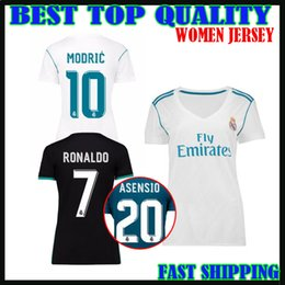Wholesale Shirts Mujer - 17 18 Real madrid WOMEN Jersey Asensio Isco 2017 2018 Marcelo 3RD camiseta RONALDO KROOS AWAY BALE RAMOS ISCO MODRIC mujer football shirt