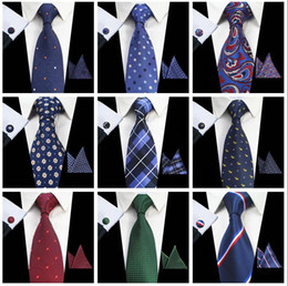 Wholesale 8cm ties dotted - Classic Mens Ties sets 51 Design 100% Silk Neck Ties hanky cufflink 8cm Plaid & Striped Ties for Men Formal Business Wedding Party Gravatas