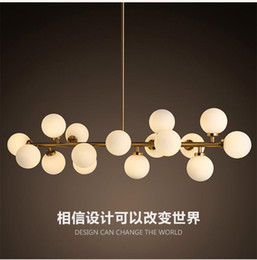 Wholesale Fluorescent Light Globe - 2016 new design North Europe LED creative modo DNA pendant light 16 18 Globes glass lampshade chandelier LED lighting fixture