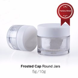 Wholesale Double Layer Pot - 20pcs lot Double Layers Empty 5G 10G Plastic Cosmetic Sample Container Eye Cream Small Round Jar Pots with Frosted Caps PJ5