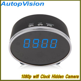 Wholesale Wifi Spy Camera Motion Detection - NEW Wifi 1080P Panda Digital Alarm Clock Hidden Spy Camera Motion Detection Clock Spy DVR 5.0M Pixels Mini Clock Hidden Cam