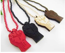 Wholesale Hip Hop Wholesale Beads - Fist Power Hand Good Wood NYC Hip-Hop Wooden Fashion Bead Chain Necklace Wholesale