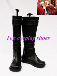 Wholesale Vocaloid Cosplay Custom - Wholesale-Freeshipping Vocaloid Rin & Len black PU Leather Cosplay Boots shoes 2 custom-made #GAI0133