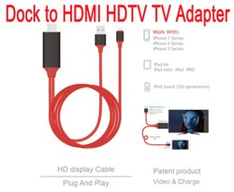 Wholesale Iphone5 Docks - Dock to HDMI HDTV AV TV Cable USB Cable 1080P Adapter for iPhone5 5s 6 6s 6plus 6splus7.7plus ipad air air 2