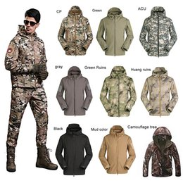 Wholesale Lurker Shark Skin Tactical Jacket - Men's Lurker Shark Skin Outdoor Military Tactical Riding Hiking Jacket Waterproof Windproof Sports Camouflage Clothes 2511002