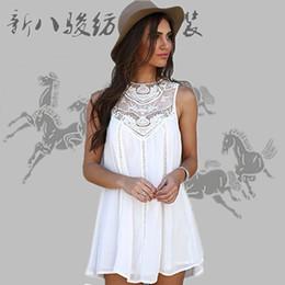 Wholesale Mini Chiffon Shirt - 2016 New Women Dresses Sleeveless Long Tops Chiffon Lace Dress Blouse Shirt Ladies Beach BOHO Short Mini Dress Plus Size