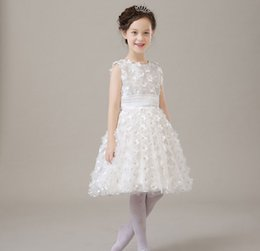 Wholesale Gown Outlet - Factory Outlets Elegant Girls Wedding Evening Party Dresses,White petals Kids Ball Gown Infant Princess Birthday Flower Girl Dresses