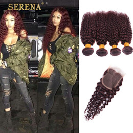 Wholesale brazilian tight curly weave - Burgundy Virgin Brazilian Human Hair Weaving 5Pcs Tight Deep Curly Wine Red Hair Weave 99J Kinky Curl Hair Bundle Deep Wave With Closure