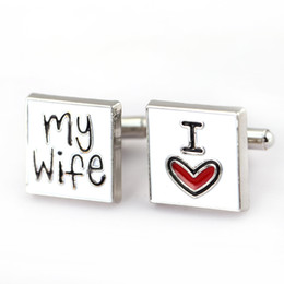 Wholesale Rare Cuff Links - Hot Sale New Trendy 2017 Rare Exquisite Cuff Links I Love My Wife Gift Wedding Groom Party Shirt Cuff Links Wholesale