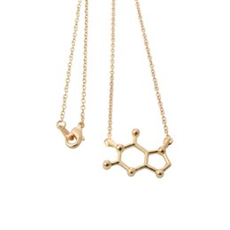 Wholesale Copper Structures - chemical structure of molecules necklace science students Necklace Pendants Statement Choker Necklace Jewelry women NY-093