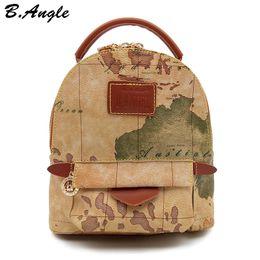 mochila menina azul claro Desconto Mapa do mundo de alta qualidade mochila mulheres mochila de couro mochila de impressão mochila saco de viagem HC-Z-6972