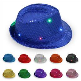 Wholesale Sequin Cowboy Hats - LED Jazz Hats Flashing Light Up Led Trilby Sequin Cowboy Hat Unisex Hip Hop Luminous Hat Party Hats 11 Colors YW227