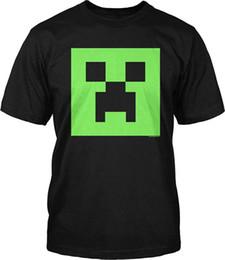Wholesale Glow T - New 2017 Fashion Hot Jinx Minecraft Creeper Glow In The Dark Face Men's Black T-shirt Tops Tees Men 100% Cotton