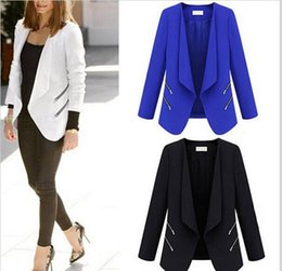 Wholesale Notch Collar Slim Fit Suits - 2016 Coats Fashion Women coat Solid Notched Collar Long Sleeve Stitching Zipper Deco Slim fit Blazer Suit Ladies OL Jacket