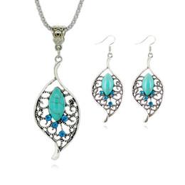 Wholesale Tibetan Wedding Jewelry - Fashion Jewelry Sets Tibetan green stone Chain Necklace & Pendants Silver Plated Water Drop Shaped Stud Earrings Women Collar