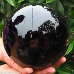 Wholesale Stone Sphere Stands - 110MM+stand- Natural Black Obsidian Sphere Large Crystal Ball Healing Stone***