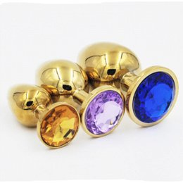 Wholesale Men S Vibrators - Gold Stainless steel Diamond Crystal metal butt anal plug anal vibrator Adult Anal Sex Toys for Men Anal Sex Products Model S